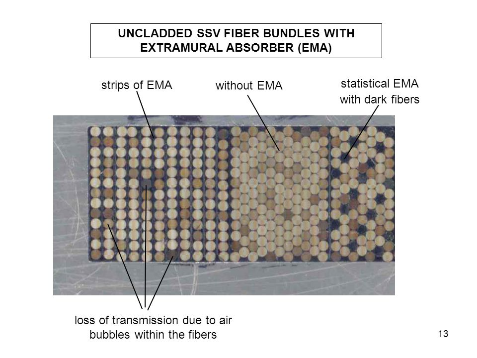 13 UNCLADDED SSV FIBER BUNDLES WITH EXTRAMURAL ABSORBER (EMA) without EMA strips of EMA statistical EMA with dark fibers loss of transmission due to a