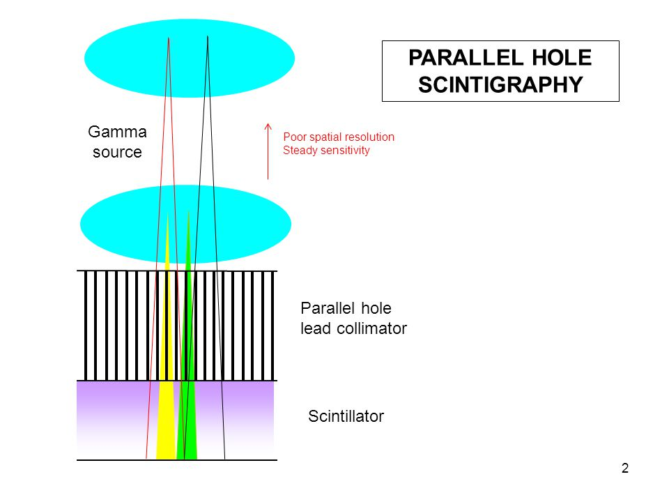 2 PARALLEL HOLE SCINTIGRAPHY Poor spatial resolution Steady sensitivity Parallel hole lead collimator Scintillator Gamma source