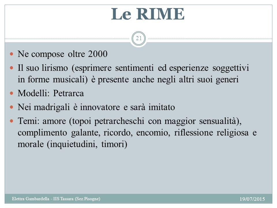 Le RIME Ne compose oltre 2000 Il suo lirismo (esprimere sentimenti ed esperienze soggettivi in forme musicali) è presente anche negli altri suoi gener