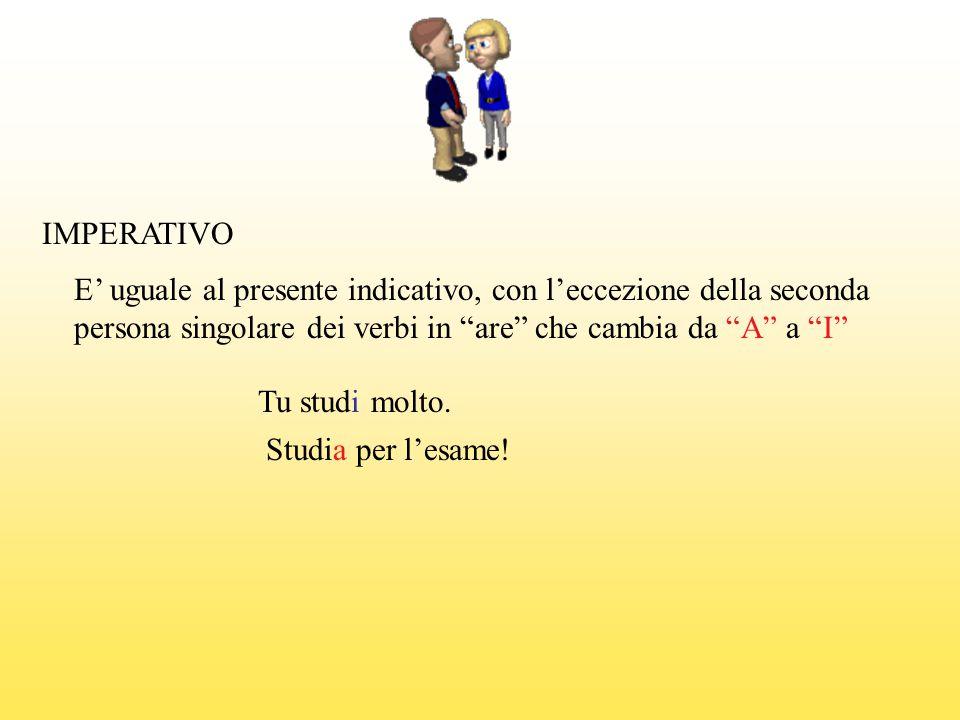 """IMPERATIVO E' uguale al presente indicativo, con l'eccezione della seconda persona singolare dei verbi in """"are"""" che cambia da """"A"""" a """"I"""" Tu studi molto"""