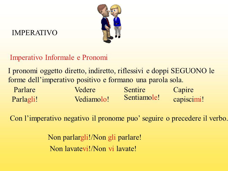 IMPERATIVO Parlare Parlagli! Con l'imperativo negativo il pronome puo' seguire o precedere il verbo. Non parlargli!/Non gli parlare! Vedere Vediamolo!