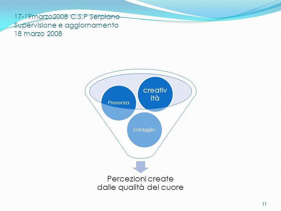 17-19marzo2008 C.S.P Serpiano Supervisione e aggiornamento 18 marzo 2008 Percezioni create dalle qualità del cuore coraggioPresenza creativ ità 11