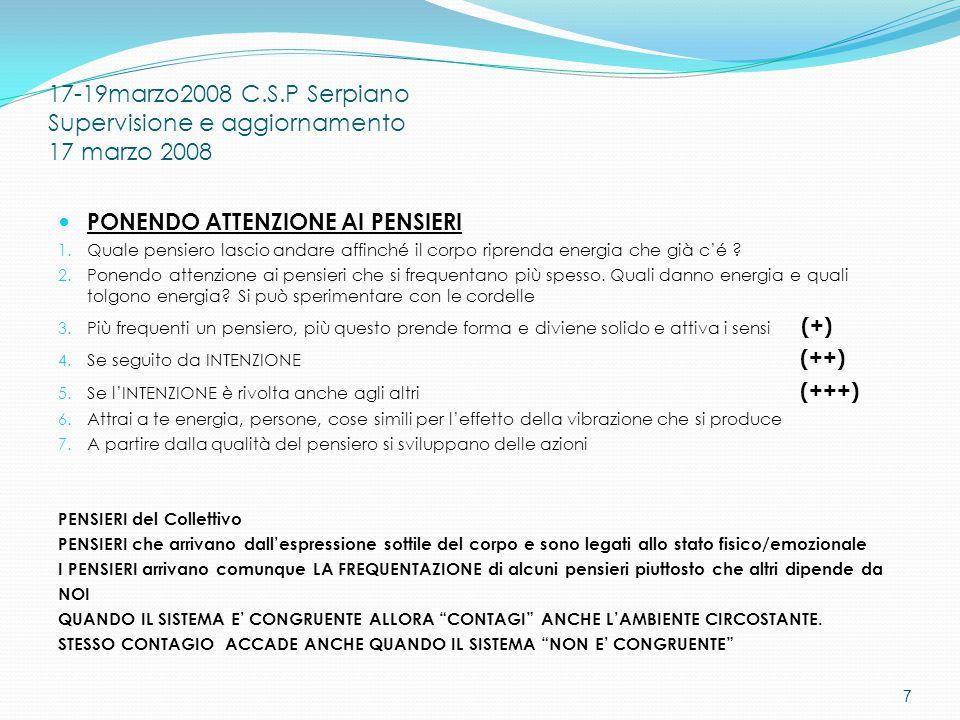 17-19marzo2008 C.S.P Serpiano Supervisione e aggiornamento 17 marzo 2008 PONENDO ATTENZIONE AI PENSIERI 1.