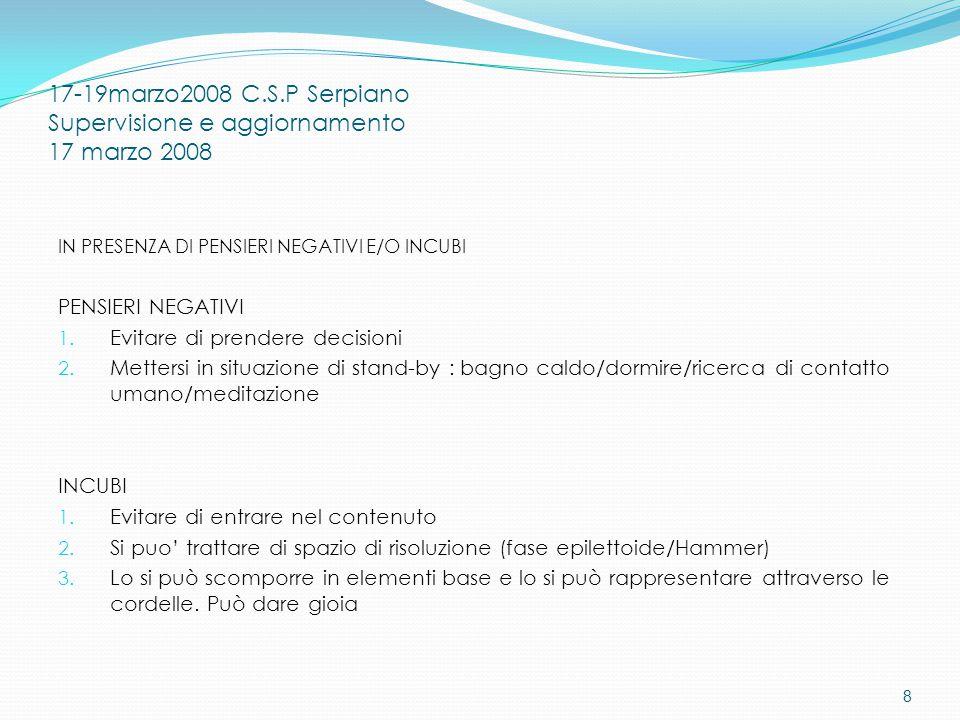 17-19marzo2008 C.S.P Serpiano Supervisione e aggiornamento 17 marzo 2008 IN PRESENZA DI PENSIERI NEGATIVI E/O INCUBI PENSIERI NEGATIVI 1.