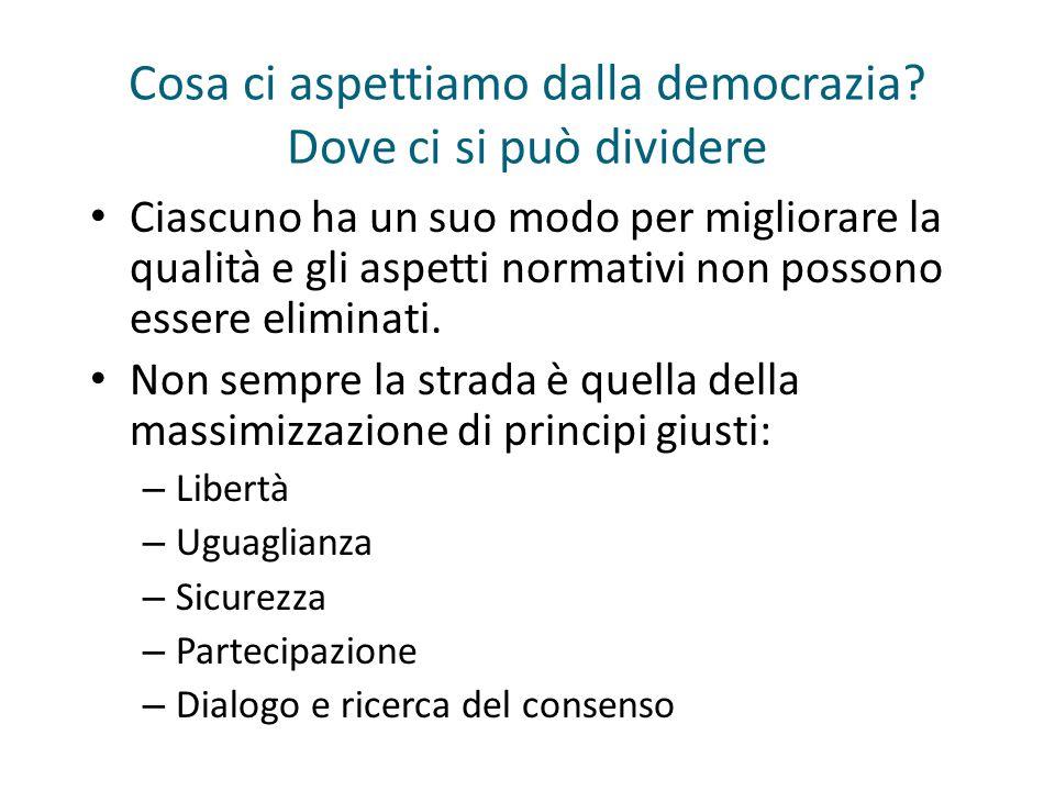 Cosa ci aspettiamo dalla democrazia? Dove ci si può dividere Ciascuno ha un suo modo per migliorare la qualità e gli aspetti normativi non possono ess