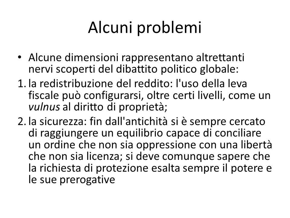 Alcuni problemi Alcune dimensioni rappresentano altrettanti nervi scoperti del dibattito politico globale: 1.la redistribuzione del reddito: l'uso del