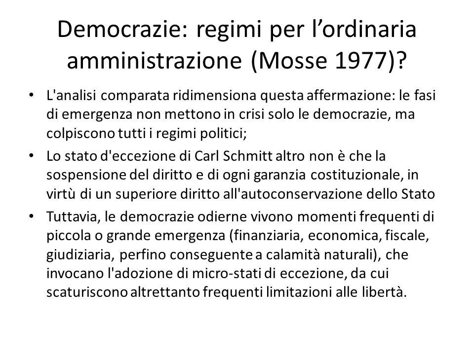 Democrazie: regimi per l'ordinaria amministrazione (Mosse 1977)? L'analisi comparata ridimensiona questa affermazione: le fasi di emergenza non metton