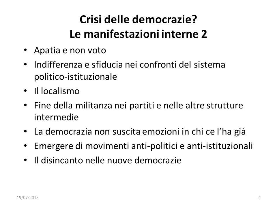 Crisi delle democrazie? Le manifestazioni interne 2 Apatia e non voto Indifferenza e sfiducia nei confronti del sistema politico-istituzionale Il loca