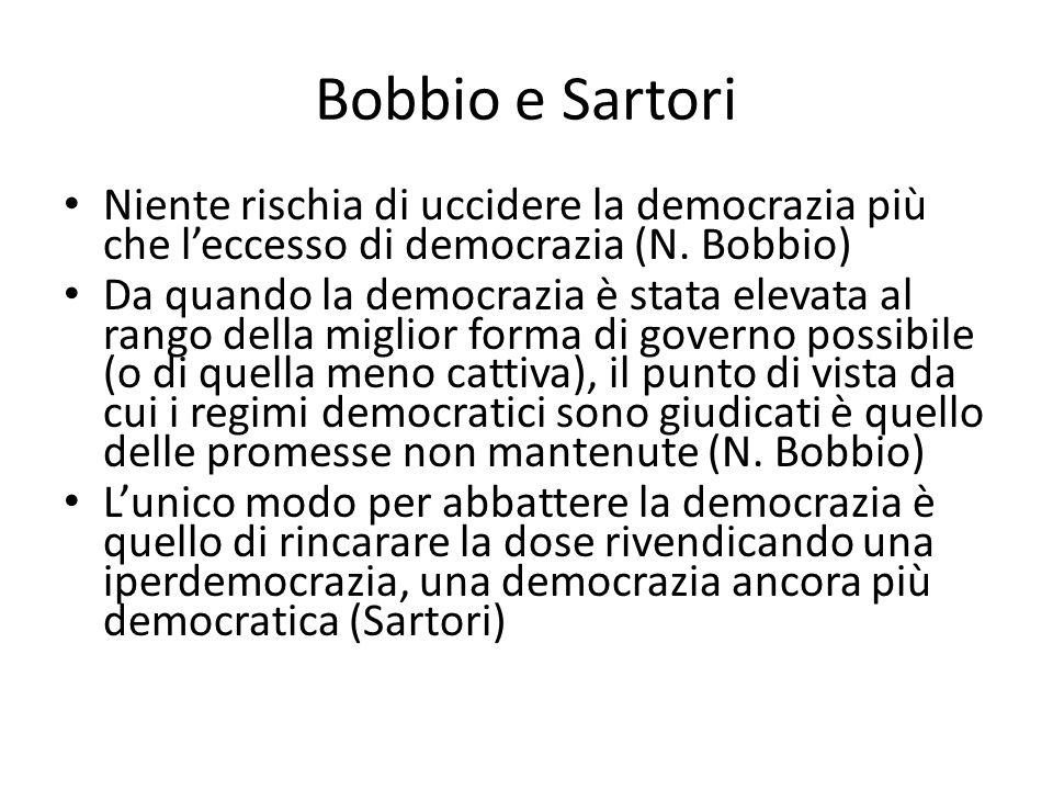Bobbio e Sartori Niente rischia di uccidere la democrazia più che l'eccesso di democrazia (N. Bobbio) Da quando la democrazia è stata elevata al rango