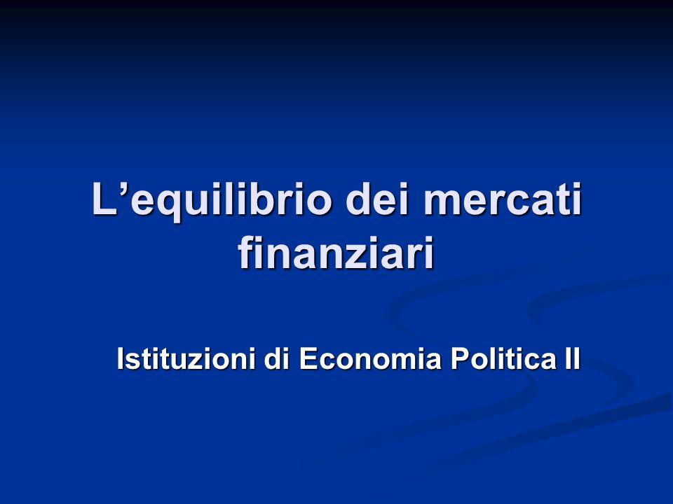L'equilibrio dei mercati finanziari Istituzioni di Economia Politica II