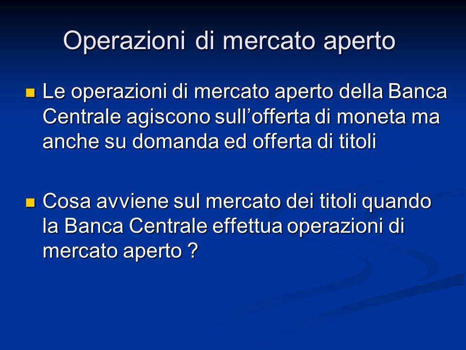 Le operazioni di mercato aperto della Banca Centrale agiscono sull'offerta di moneta ma anche su domanda ed offerta di titoli Le operazioni di mercato