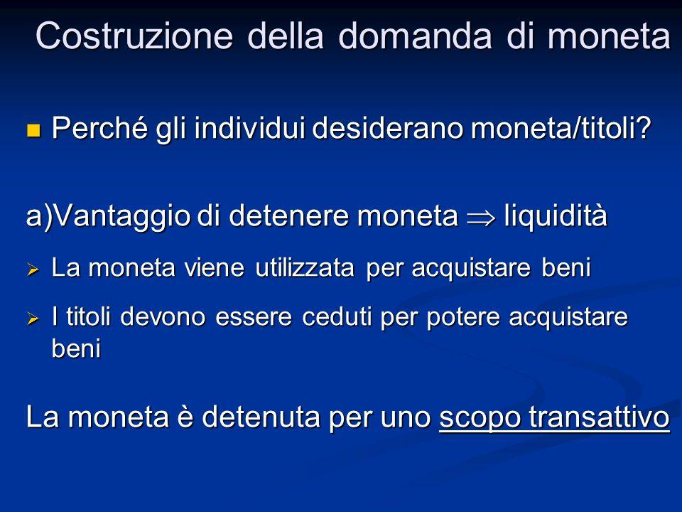 Perché gli individui desiderano moneta/titoli? Perché gli individui desiderano moneta/titoli? a)Vantaggio di detenere moneta  liquidità  La moneta v