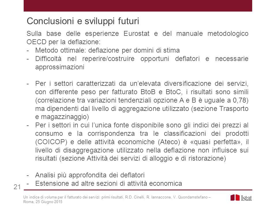 Conclusioni e sviluppi futuri 21 Sulla base delle esperienze Eurostat e del manuale metodologico OECD per la deflazione: -Metodo ottimale: deflazione
