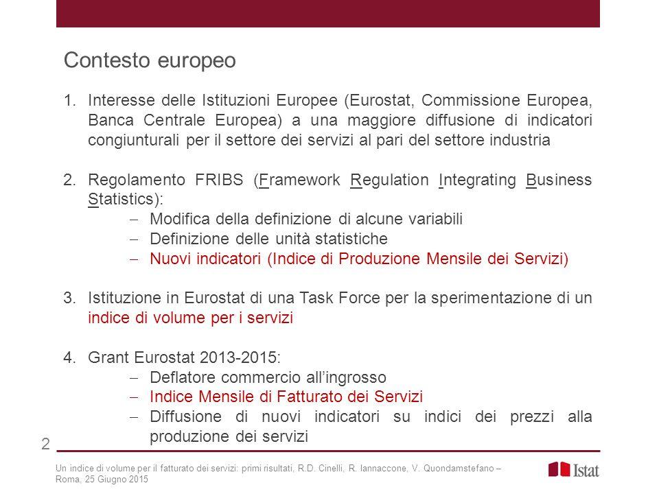 1.Interesse delle Istituzioni Europee (Eurostat, Commissione Europea, Banca Centrale Europea) a una maggiore diffusione di indicatori congiunturali pe