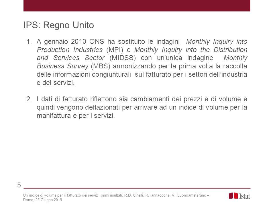 IPS: Regno Unito 5 Un indice di volume per il fatturato dei servizi: primi risultati, R.D. Cinelli, R. Iannaccone, V. Quondamstefano – Roma, 25 Giugno