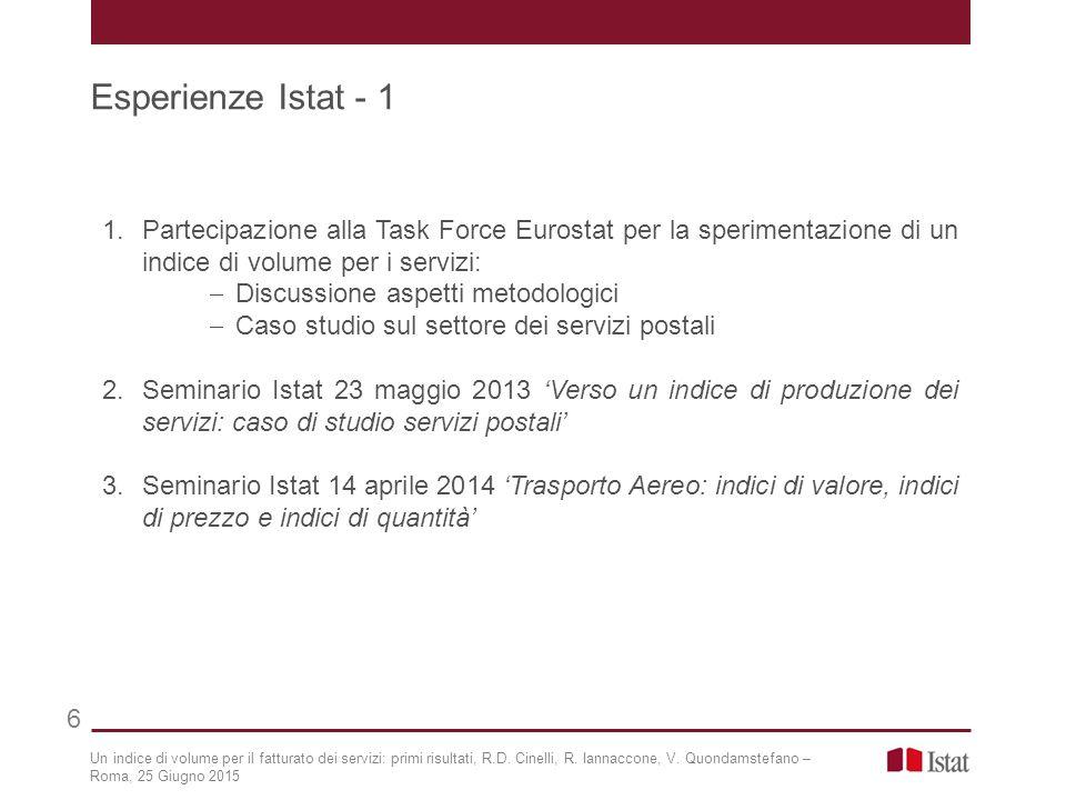 1.Partecipazione alla Task Force Eurostat per la sperimentazione di un indice di volume per i servizi:  Discussione aspetti metodologici  Caso studi