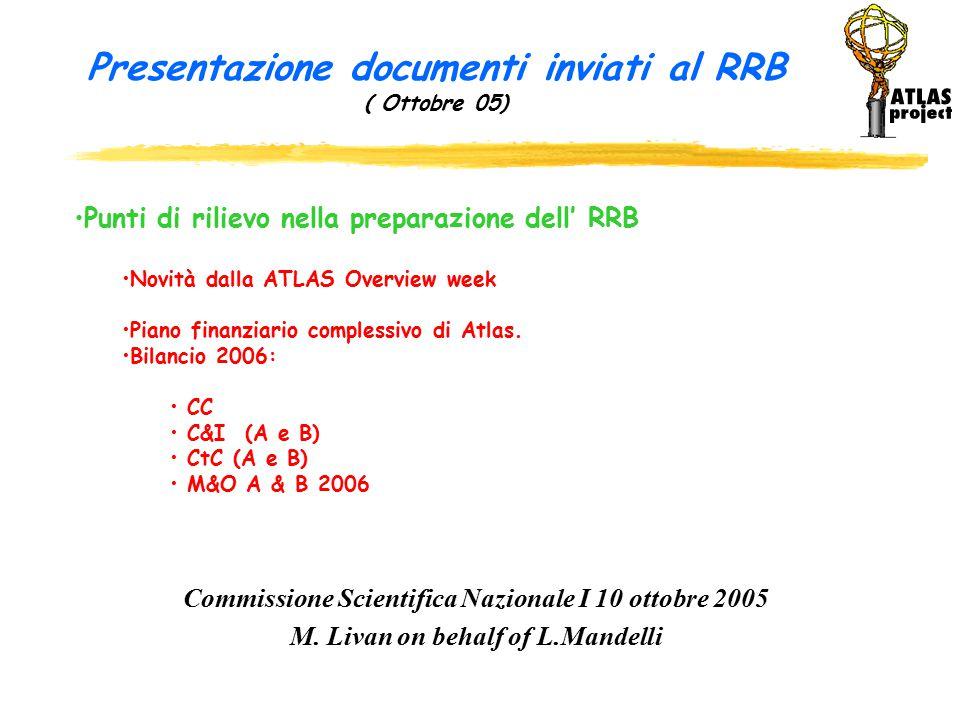 Presentazione documenti inviati al RRB ( Ottobre 05) Commissione Scientifica Nazionale I 10 ottobre 2005 M.