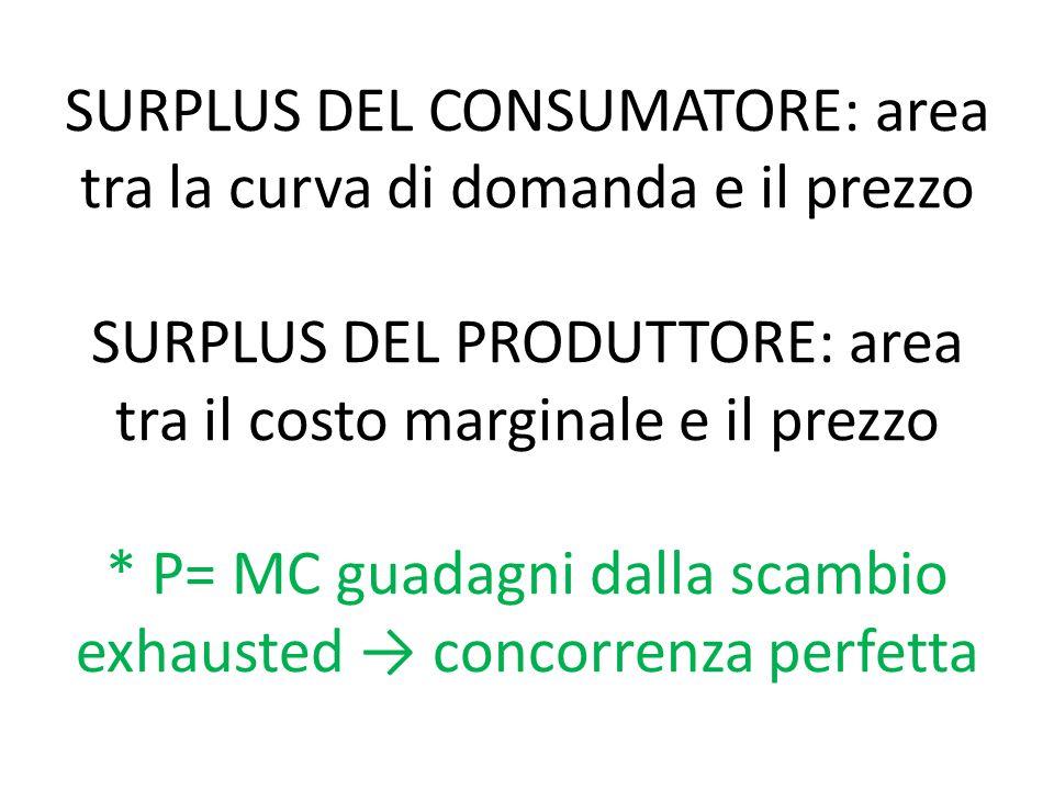 SURPLUS DEL CONSUMATORE: area tra la curva di domanda e il prezzo SURPLUS DEL PRODUTTORE: area tra il costo marginale e il prezzo * P= MC guadagni dalla scambio exhausted → concorrenza perfetta