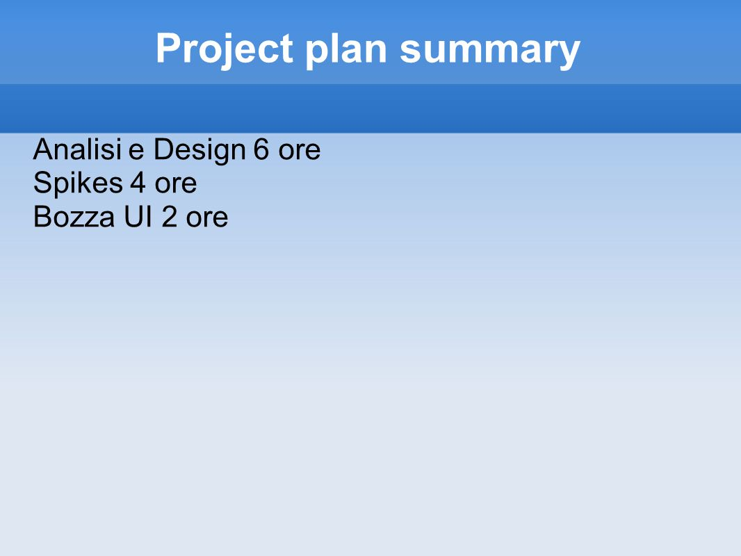 Project plan summary Analisi e Design 6 ore Spikes 4 ore Bozza UI 2 ore