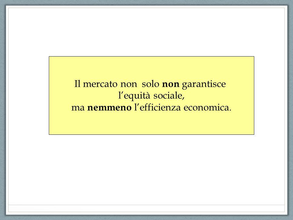Il mercato non solo non garantisce l'equità sociale, ma nemmeno l'efficienza economica.