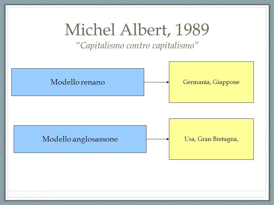 Michel Albert, 1989 Capitalismo contro capitalismo Modello renano Modello anglosassone Germania, Giappone Usa, Gran Bretagna,