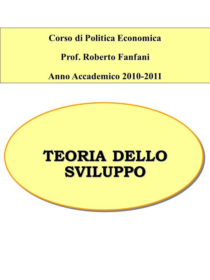 Corso di Politica Economica Prof. Roberto Fanfani Anno Accademico 2010-2011 TEORIA DELLO SVILUPPO