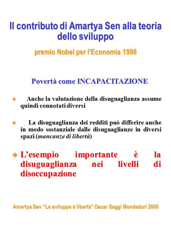 Il contributo di Amartya Sen alla teoria dello sviluppo premio Nobel per l'Economia 1998 Povertà come INCAPACITAZIONE Povertà come INCAPACITAZIONE  Anche la valutazione della disuguaglianza assume quindi connotati diversi  La disuguaglianza dei redditi può differire anche in modo sostanziale dalle disuguaglianze in diversi spazi (mancanze di libertà)  L'esempio importante è la disuguaglianza nei livelli di disoccupazione Amartya Sen Lo sviluppo è libertà Oscar Saggi Mondadori 2000