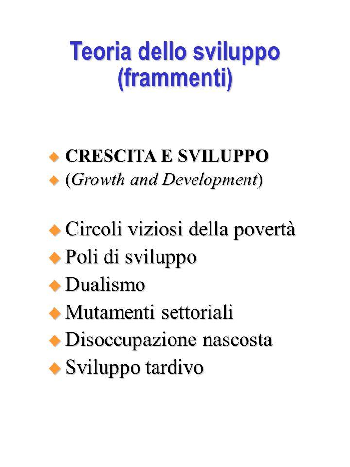 Teoria dello sviluppo (frammenti)  CRESCITA E SVILUPPO  (Growth and Development)  Circoli viziosi della povertà  Poli di sviluppo  Dualismo  Mutamenti settoriali  Disoccupazione nascosta  Sviluppo tardivo