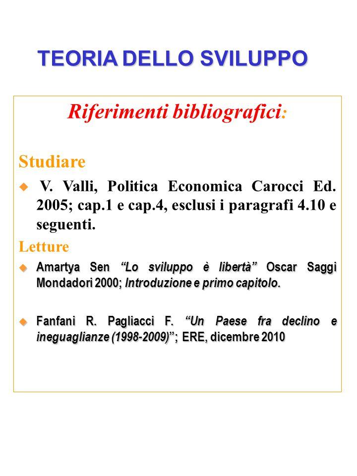 Riferimenti bibliografici : Studiare  V. Valli, Politica Economica Carocci Ed.
