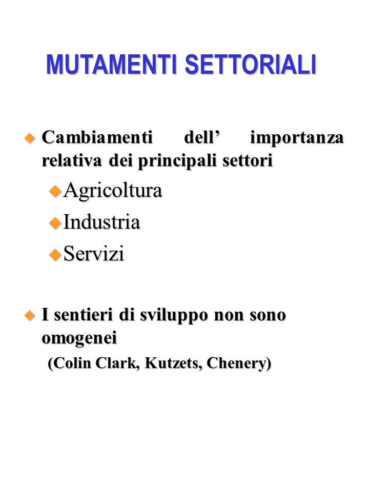 MUTAMENTI SETTORIALI  Cambiamenti dell' importanza relativa dei principali settori  Agricoltura  Industria  Servizi  I sentieri di sviluppo non sono omogenei (Colin Clark, Kutzets, Chenery)