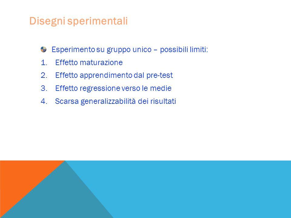 Disegni sperimentali Esperimento su gruppo unico – possibili limiti: 1.Effetto maturazione 2.Effetto apprendimento dal pre-test 3.Effetto regressione verso le medie 4.Scarsa generalizzabilità dei risultati