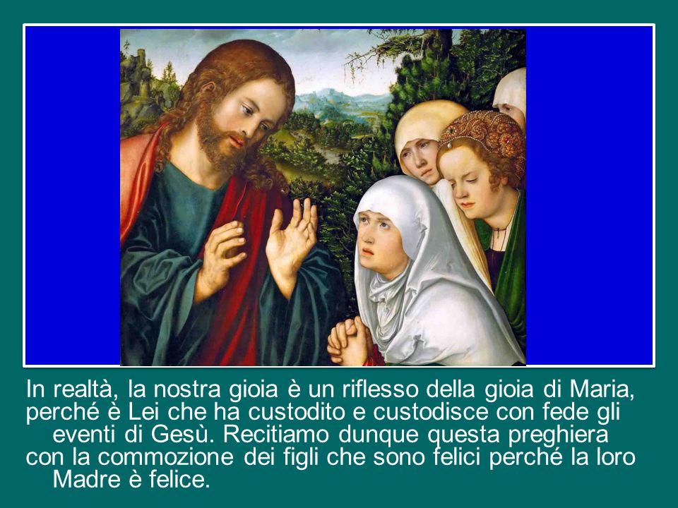 In questa preghiera, scandita dall'alleluia, ci rivolgiamo a Maria invitandola a rallegrarsi, perché Colui che ha portato in grembo è risorto come aveva promesso, e ci affidiamo alla sua intercessione.