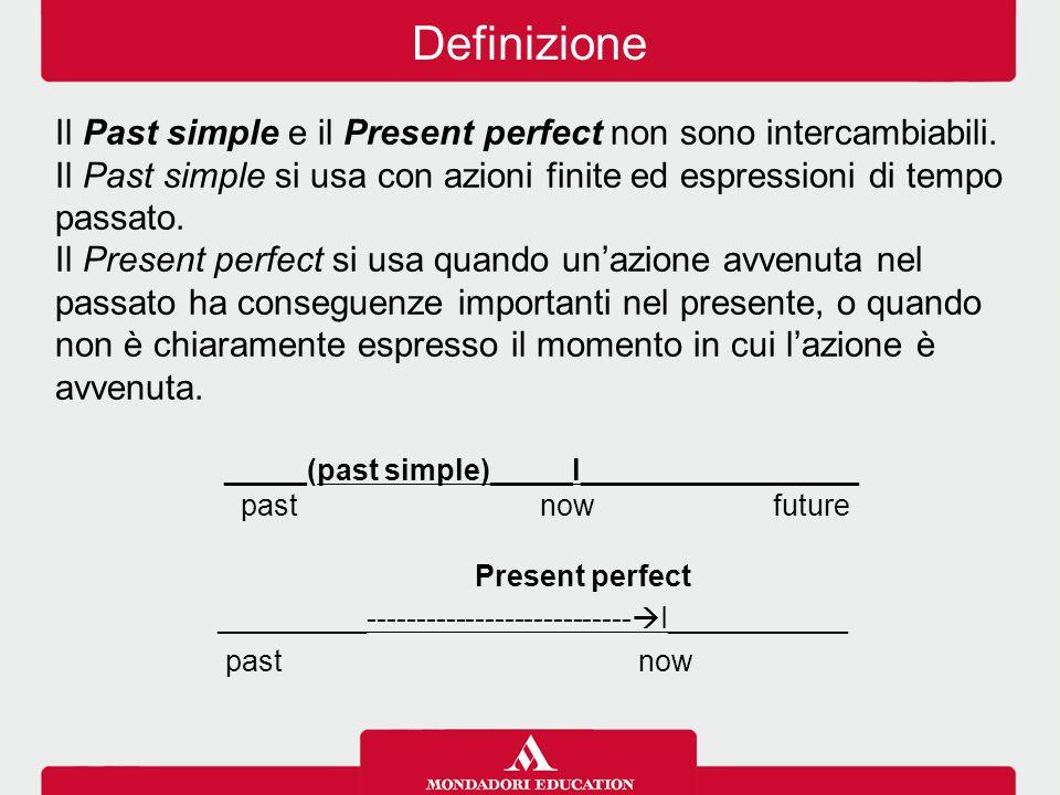 Il Past simple e il Present perfect non sono intercambiabili. Il Past simple si usa con azioni finite ed espressioni di tempo passato. Il Present perf