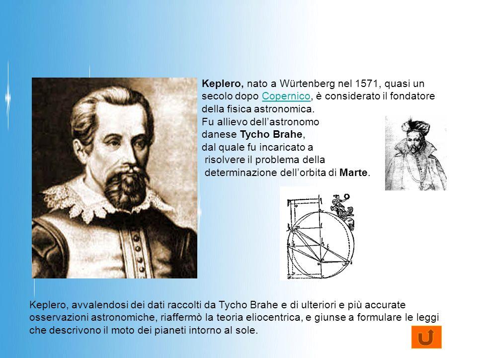 Keplero, nato a Würtenberg nel 1571, quasi un secolo dopo Copernico, è considerato il fondatore della fisica astronomica.Copernico Fu allievo dell'astronomo danese Tycho Brahe, dal quale fu incaricato a risolvere il problema della determinazione dell'orbita di Marte.