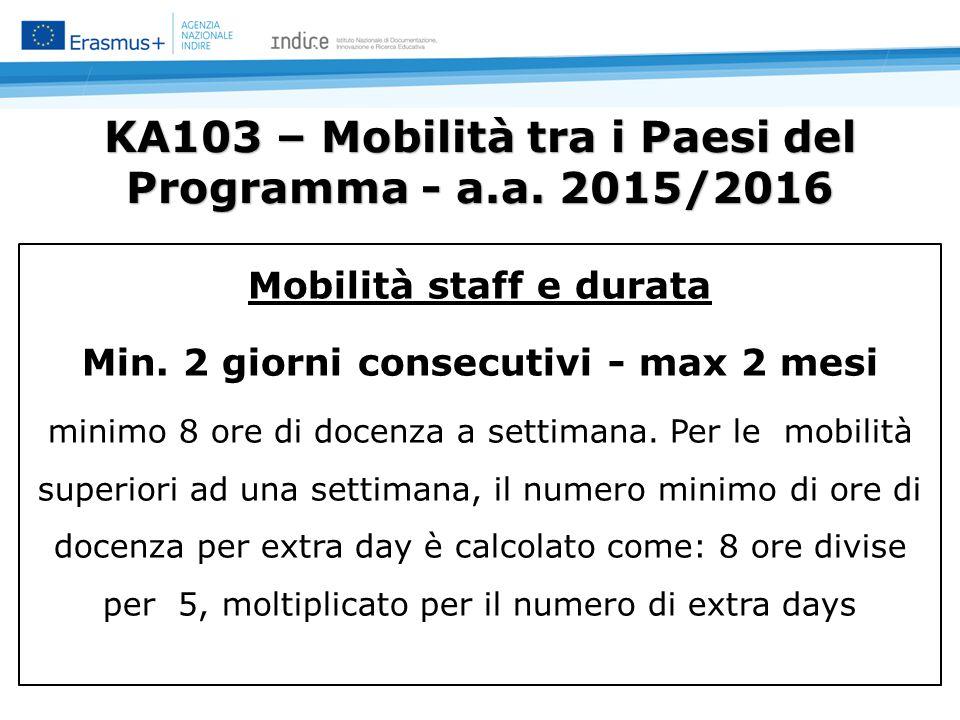 KA103 – Mobilità tra i Paesi del Programma - a.a. 2015/2016 Mobilità staff e durata Min.