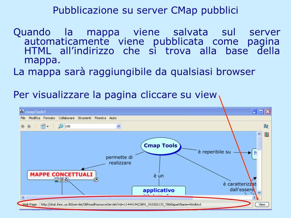 Matilde Fiameni IRRE Lombardia- 21/04/2006 Pubblicazione su server CMap pubblici Quando la mappa viene salvata sul server automaticamente viene pubblicata come pagina HTML all'indirizzo che si trova alla base della mappa.