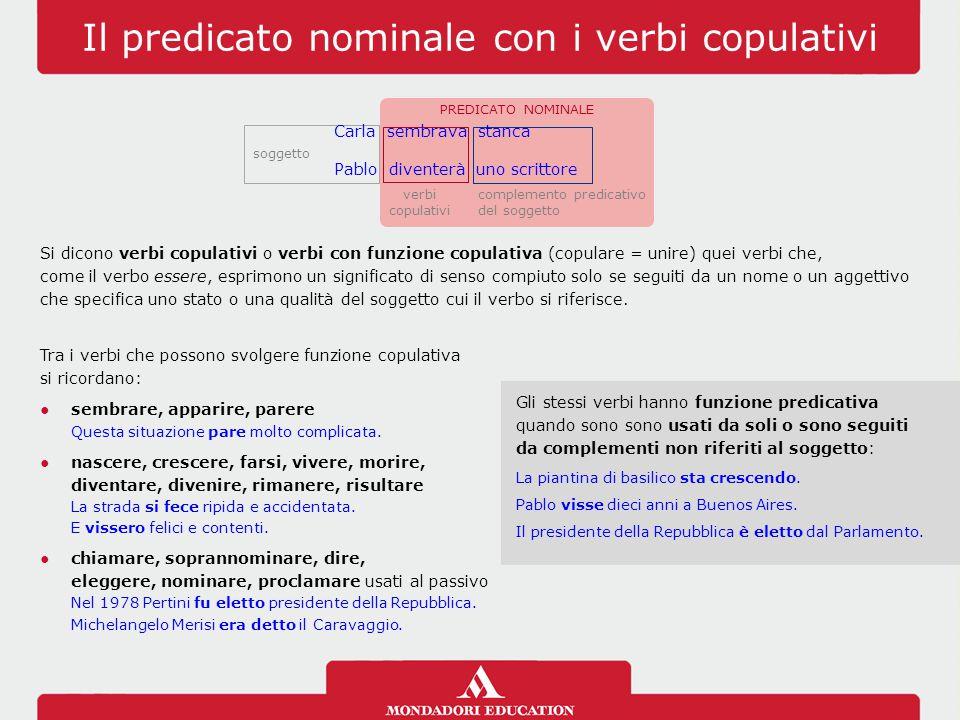 Il predicato nominale con i verbi copulativi verbi copulativi soggetto PREDICATO NOMINALE complemento predicativo del soggetto Carla sembrava stanca P