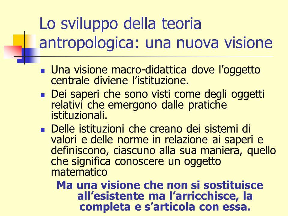 Lo sviluppo della teoria antropologica: una nuova visione Una visione macro-didattica dove l'oggetto centrale diviene l'istituzione.