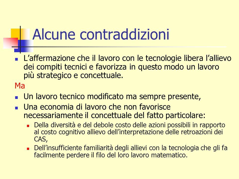 Alcune contraddizioni L'affermazione che il lavoro con le tecnologie libera l'allievo dei compiti tecnici e favorizza in questo modo un lavoro più strategico e concettuale.