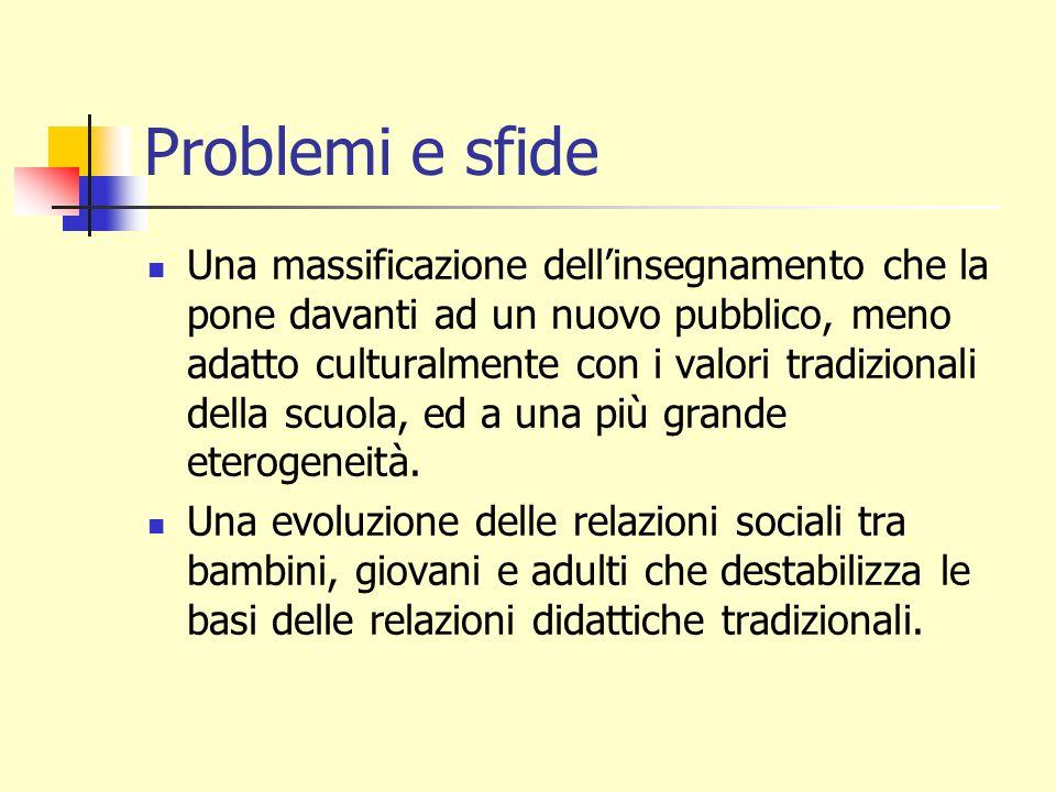 Problemi e sfide Una istituzione scolastica che si deve adattare a una evoluzione tenologica i cui tempi sono molto più corti che i propri.