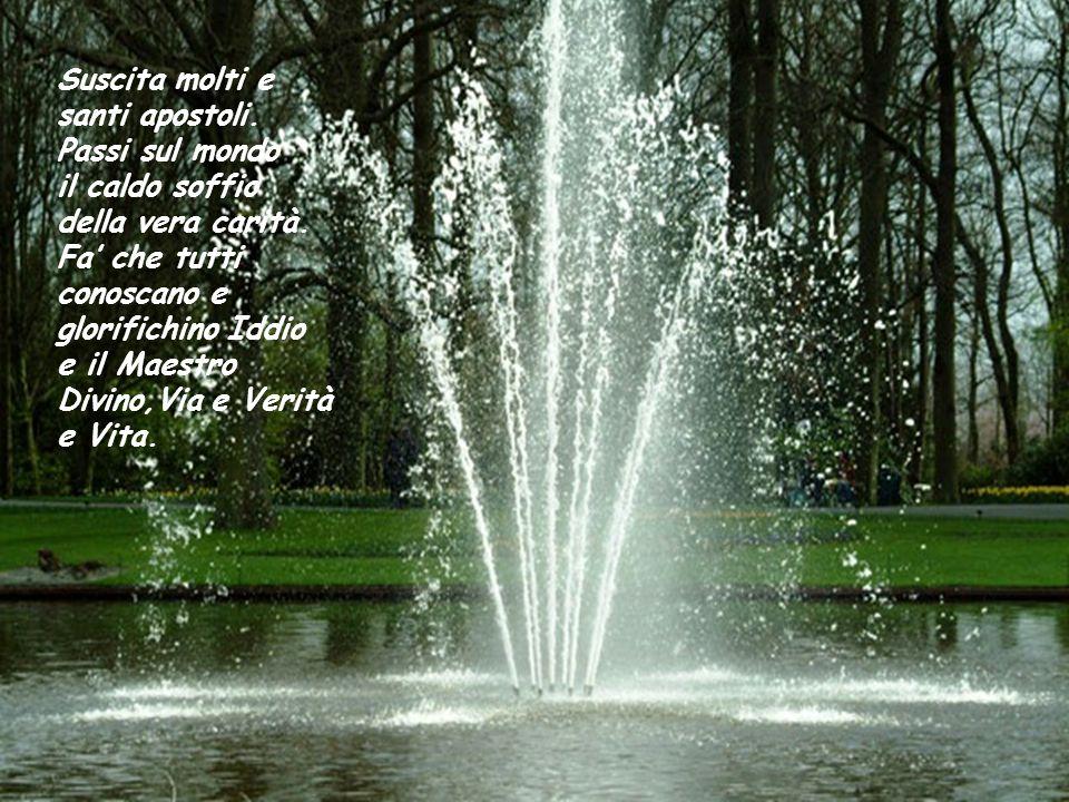 Suscita molti e santi apostoli.Passi sul mondo il caldo soffio della vera carità.