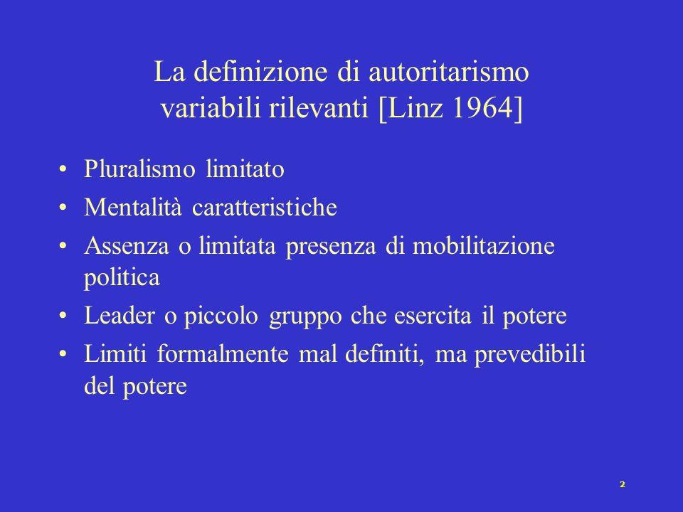 2 La definizione di autoritarismo variabili rilevanti [Linz 1964] Pluralismo limitato Mentalità caratteristiche Assenza o limitata presenza di mobilitazione politica Leader o piccolo gruppo che esercita il potere Limiti formalmente mal definiti, ma prevedibili del potere