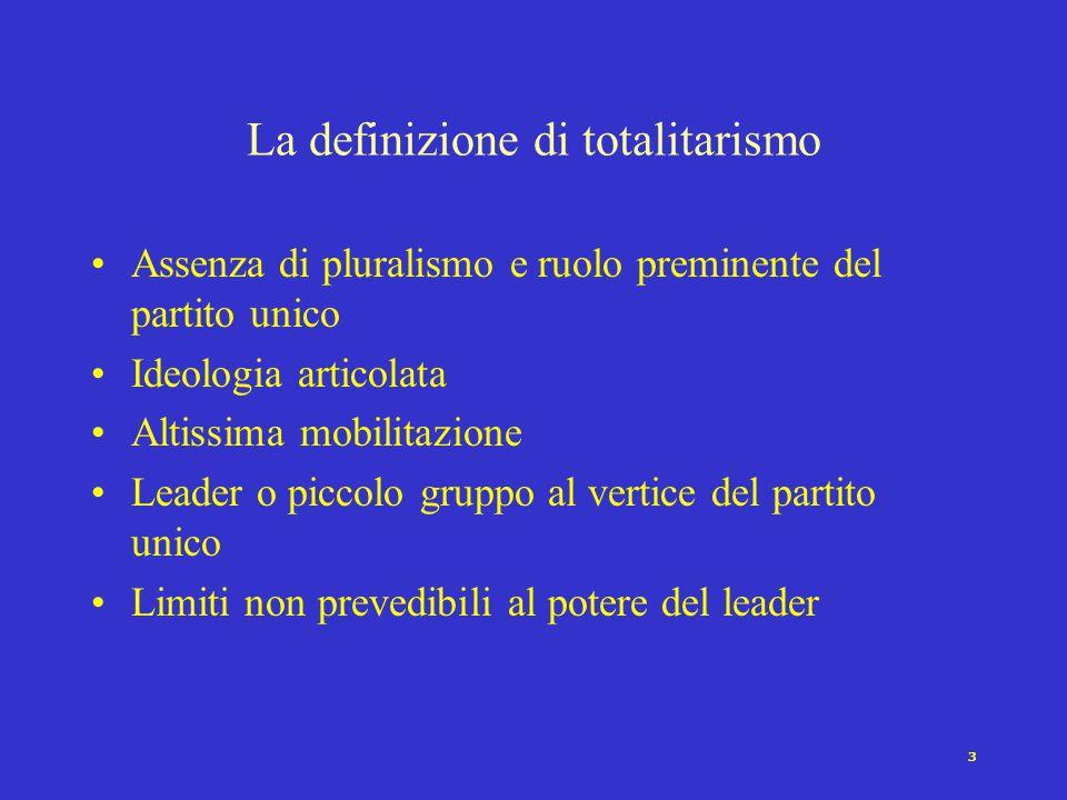 3 Assenza di pluralismo e ruolo preminente del partito unico Ideologia articolata Altissima mobilitazione Leader o piccolo gruppo al vertice del partito unico Limiti non prevedibili al potere del leader La definizione di totalitarismo
