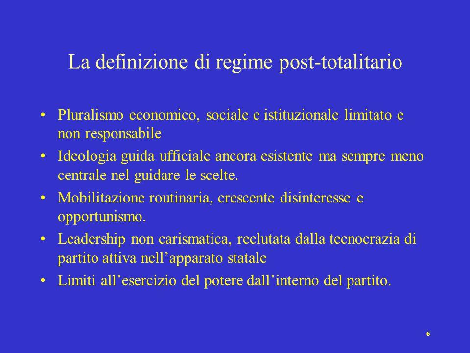 6 Pluralismo economico, sociale e istituzionale limitato e non responsabile Ideologia guida ufficiale ancora esistente ma sempre meno centrale nel guidare le scelte.