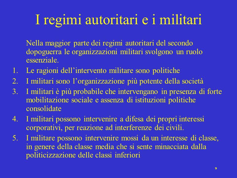 9 I regimi autoritari e i militari Nella maggior parte dei regimi autoritari del secondo dopoguerra le organizzazioni militari svolgono un ruolo essenziale.