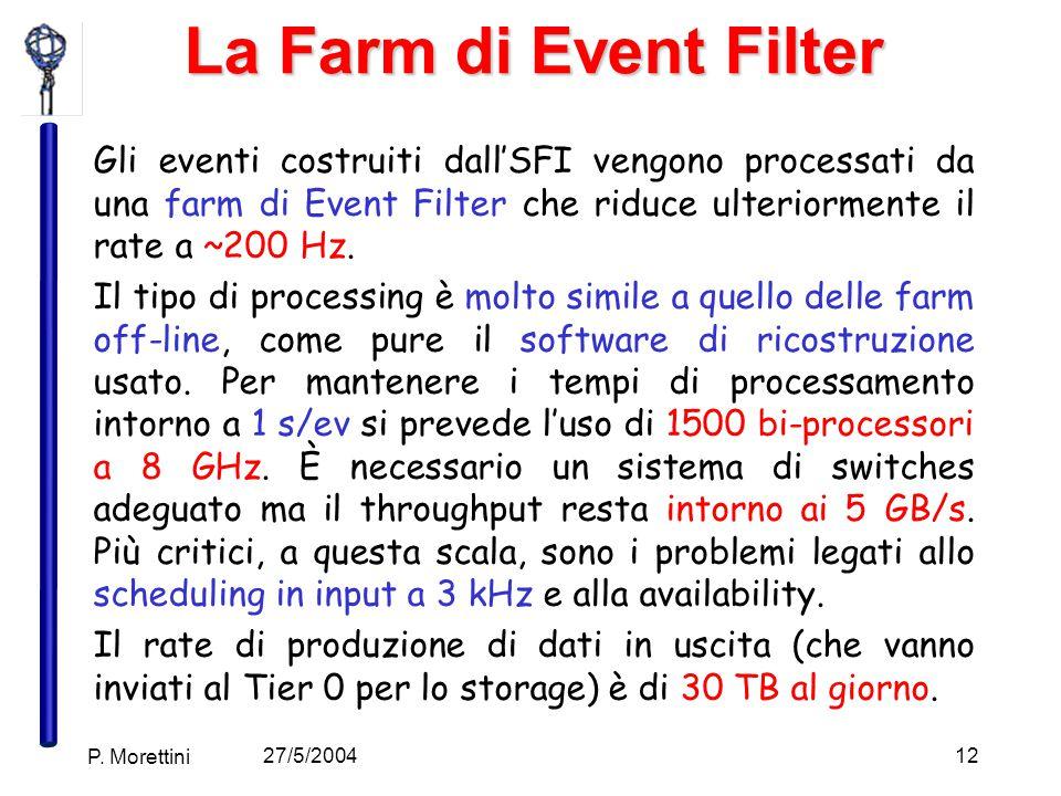 27/5/2004 P. Morettini 12 La Farm di Event Filter Gli eventi costruiti dall'SFI vengono processati da una farm di Event Filter che riduce ulteriorment
