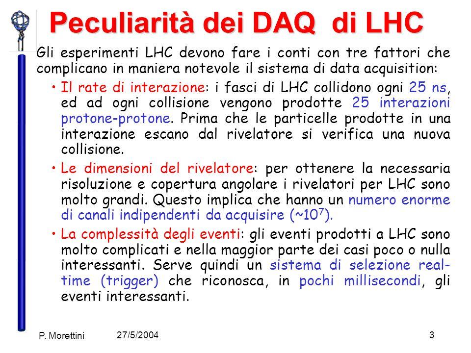 27/5/2004 P. Morettini 3 Peculiarità dei DAQ di LHC Gli esperimenti LHC devono fare i conti con tre fattori che complicano in maniera notevole il sist