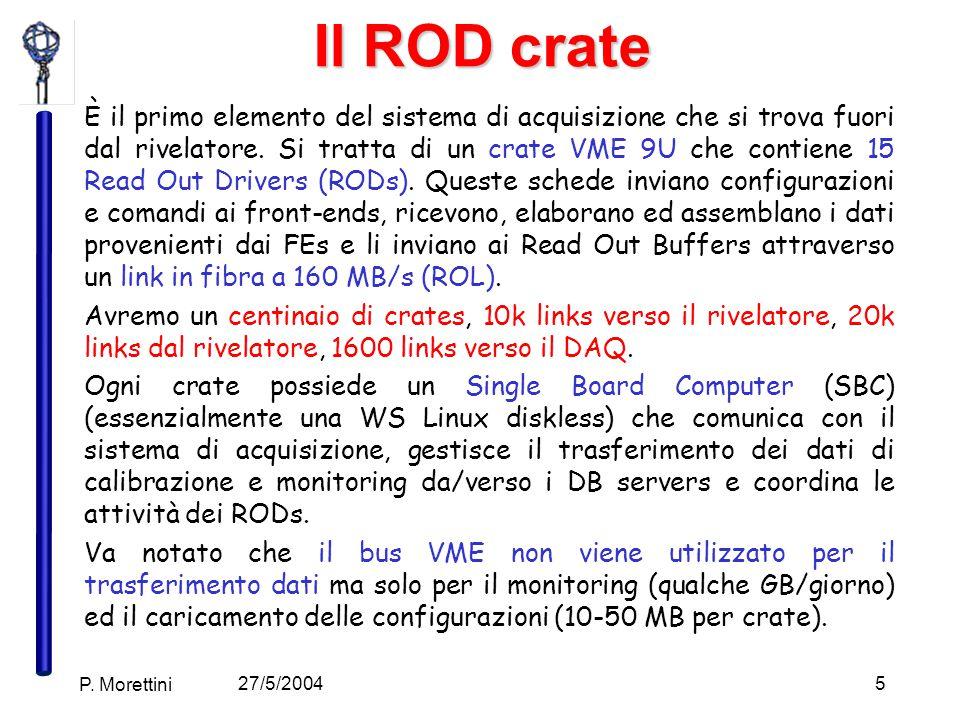 27/5/2004 P. Morettini 5 Il ROD crate È il primo elemento del sistema di acquisizione che si trova fuori dal rivelatore. Si tratta di un crate VME 9U