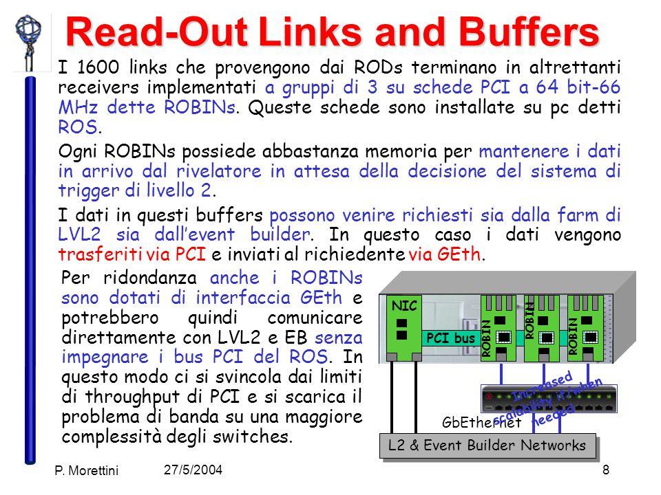 27/5/2004 P. Morettini 8 Read-Out Links and Buffers I 1600 links che provengono dai RODs terminano in altrettanti receivers implementati a gruppi di 3