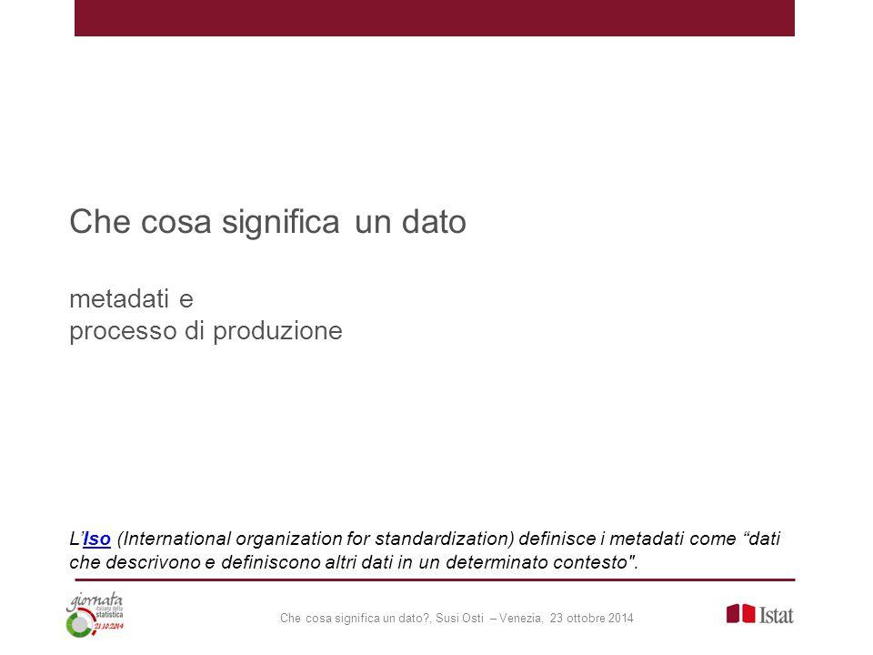 Che cosa significa un dato metadati e processo di produzione L'Iso (International organization for standardization) definisce i metadati come dati che descrivono e definiscono altri dati in un determinato contesto .Iso
